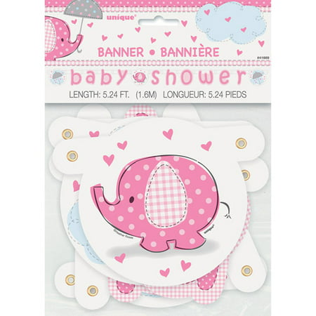 Pink Elephant Baby Shower Banner, - Rainforest Themed Baby Shower