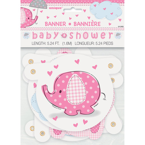 Pink Elephant Baby Shower Jointed Banner