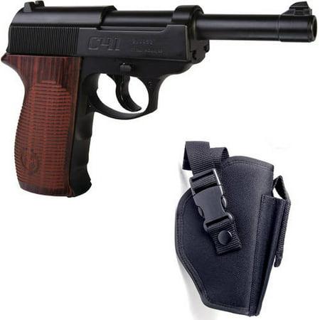 Crosman C41 Full Metal .177 Caliber Semi-Auto CO2 Air Pistol and Holster Bundle