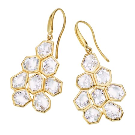 18k Gold Vermeil Earrings (Allia 18K Yellow Gold Vermeil & Quartz Drop Earrings)