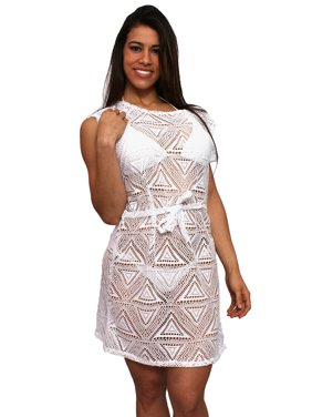 ded511c97e729 Product Image Women's Crochet Tie Waist Swimwear Cover-up Beach Dress Made  in the USA