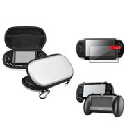 Insten Silver EVA Case+Black Hand Grip+Clear Screen Protector For Sony PS Vita PSV