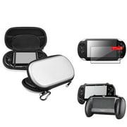 Insten Silver EVA Case+Black Hand Grip+Clear Screen Protector For Sony PS Vita PSV