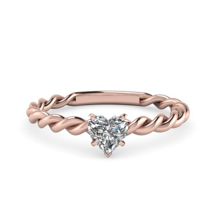 Gia Twist (Twisted Rope Engagement Ring 0.40 Ct Heart Shaped Diamond Solitaire In 14K Rose Gold GIA Certified )