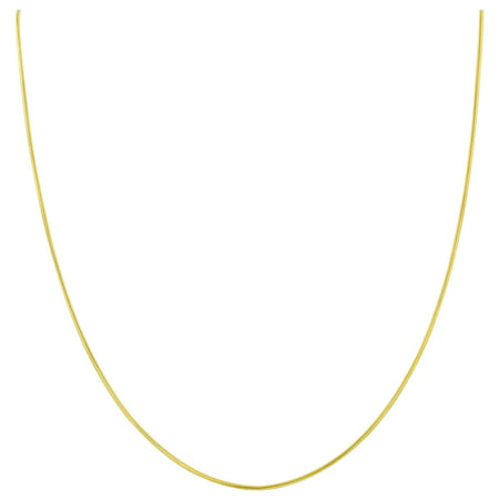 Skate 14k Gold Charm - Gem Avenue 14k Gold over Italian 925 Sterling Silver Vermeil 1mm Snake Chain Diamond-Cut Necklace