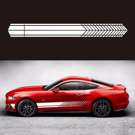 1Pair Car Sticker Sports Racing Stripe Graphic Stickers Body Side Door Vinyl Decals Auto - Car Racing Stickers