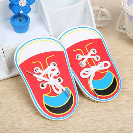 1pcs Childern String Wooden Shoe Toys for Lacing Shoes for Early Education Baby Toddler Toys Color Random - image 8 de 10