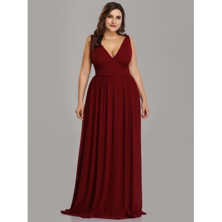 Ever-Pretty Womens A-Line Plus Size Long Summer Wedding Party Casual Sun  Dresses for Women 90162 Burgundy US18
