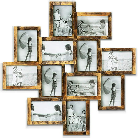 "Photo Frame Picture Frame Family Friends Union Together L24 x H24 Gallery Collage Wall Hanging Photo Frame for 6"" x 4"" Photo - 12 Photo Sockets - Gold Edge"