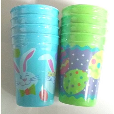 Rabbit Eggs (Easter Rabbit or Eggs Tumbler Plastic Cups (Green & Blue Colors Avail.) 4 pack )