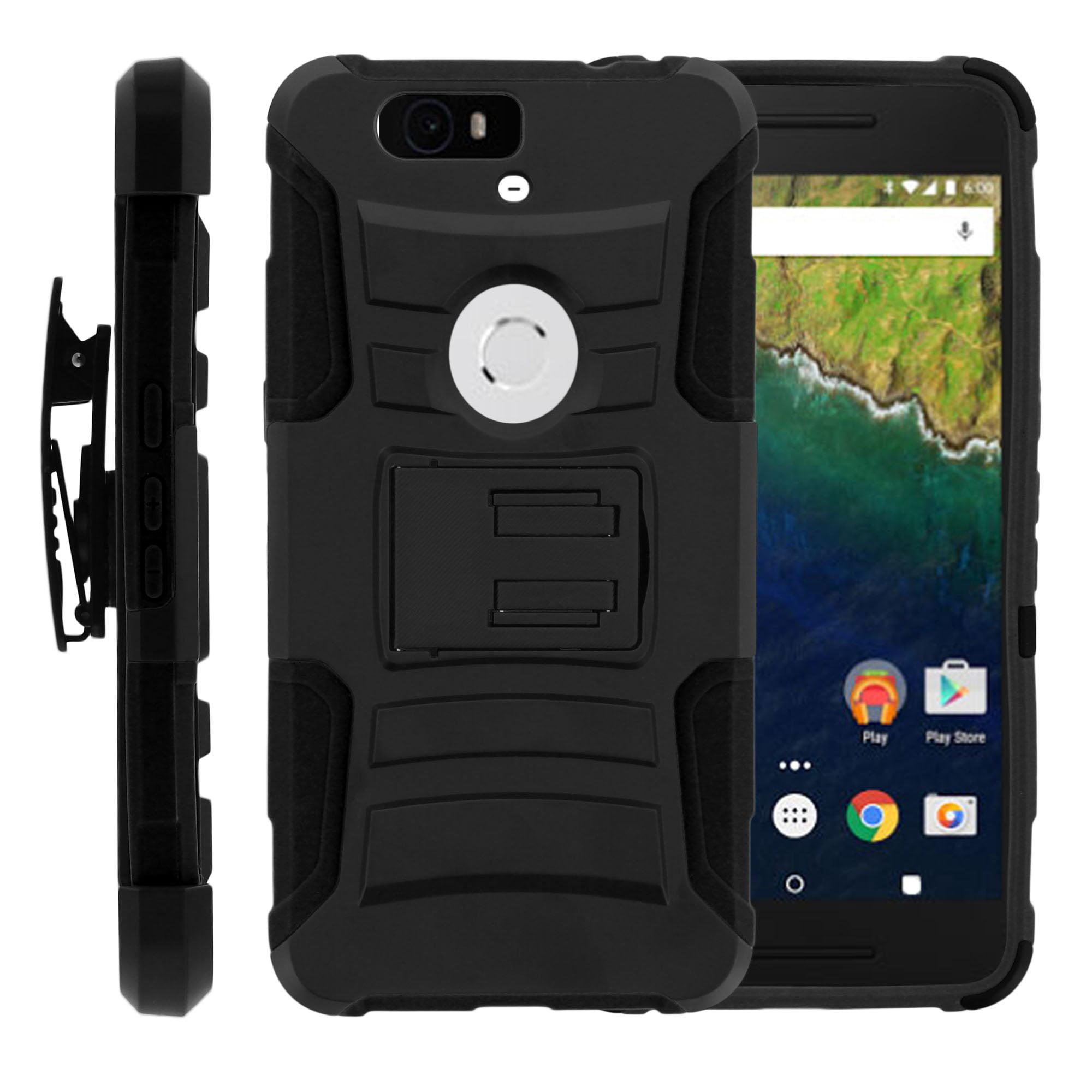 TurtleArmor ® | For Huawei Nexus 6P | Google Nexus 6P [Hyper Shock] Hybrid Dual Layer Armor Holster Belt Clip Case Kickstand - Black