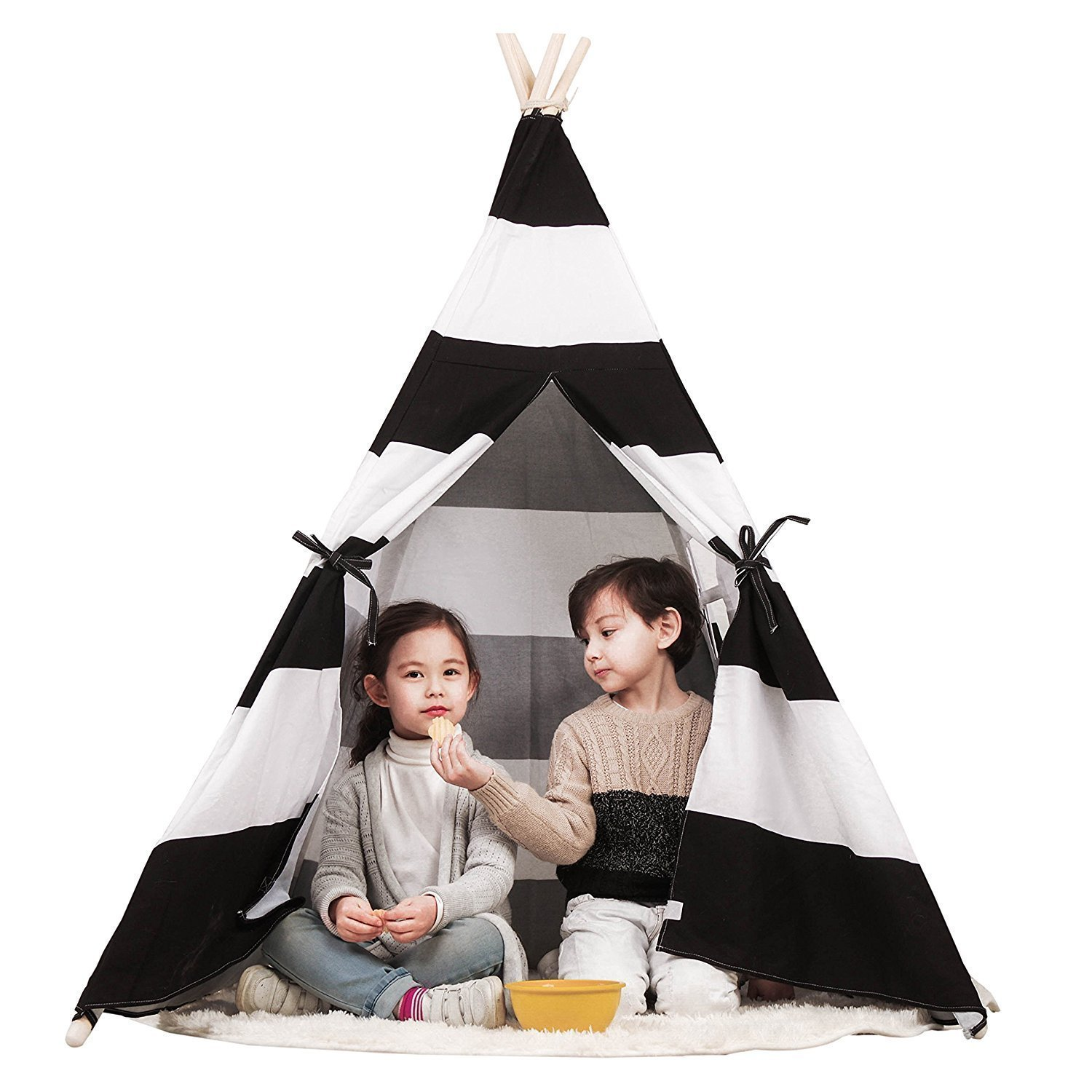 Toysland Indoor Indian Playhouse Teepee Tent for Kids, Toddlers Canvas with Carry Case, Black Stripe