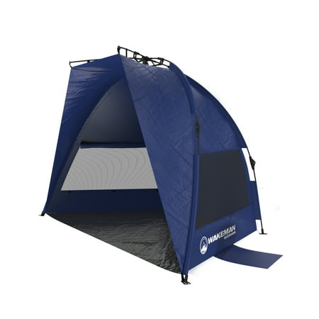 Pop Up Beach Tent- Sun Shelter for Shade with UV Protection, Water and Wind Resistant, Instant Set Up and Carry Bag By Wakeman Outdoors (Best Beach Tent For Wind)