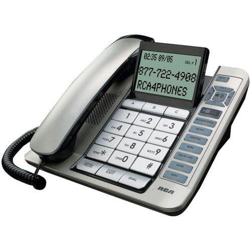 RCA 1114-1BSGA Corded Desktop Phone with Caller ID & Digital Answering System (Silver)