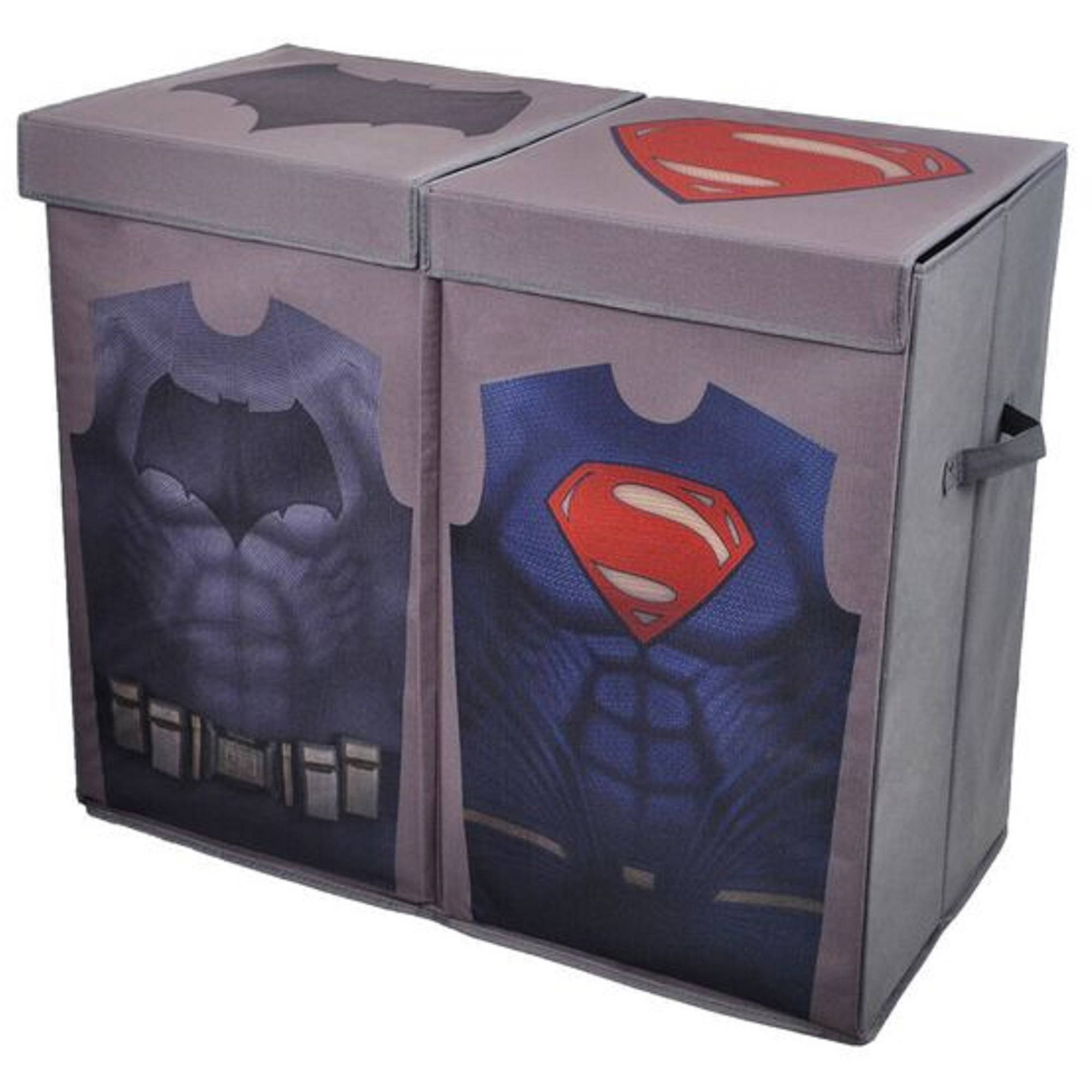 Batman vs Superman Grey Uniform Folding Double Laundry Bin
