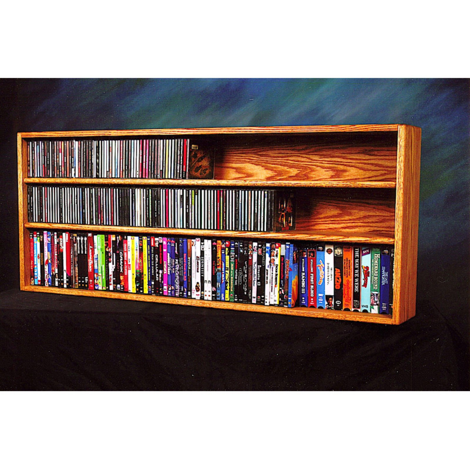 The Wood Shed Solid Oak Wall / Shelf Mount for CD / DVD / VHS Tape Media Cabinet