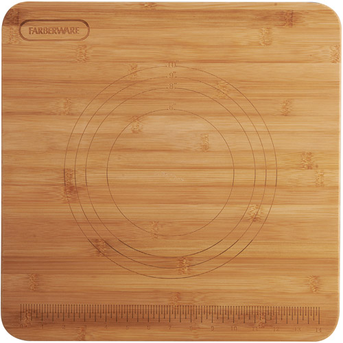 "Farberware 16"" x 16"" Bamboo Pastry Board with measurements"