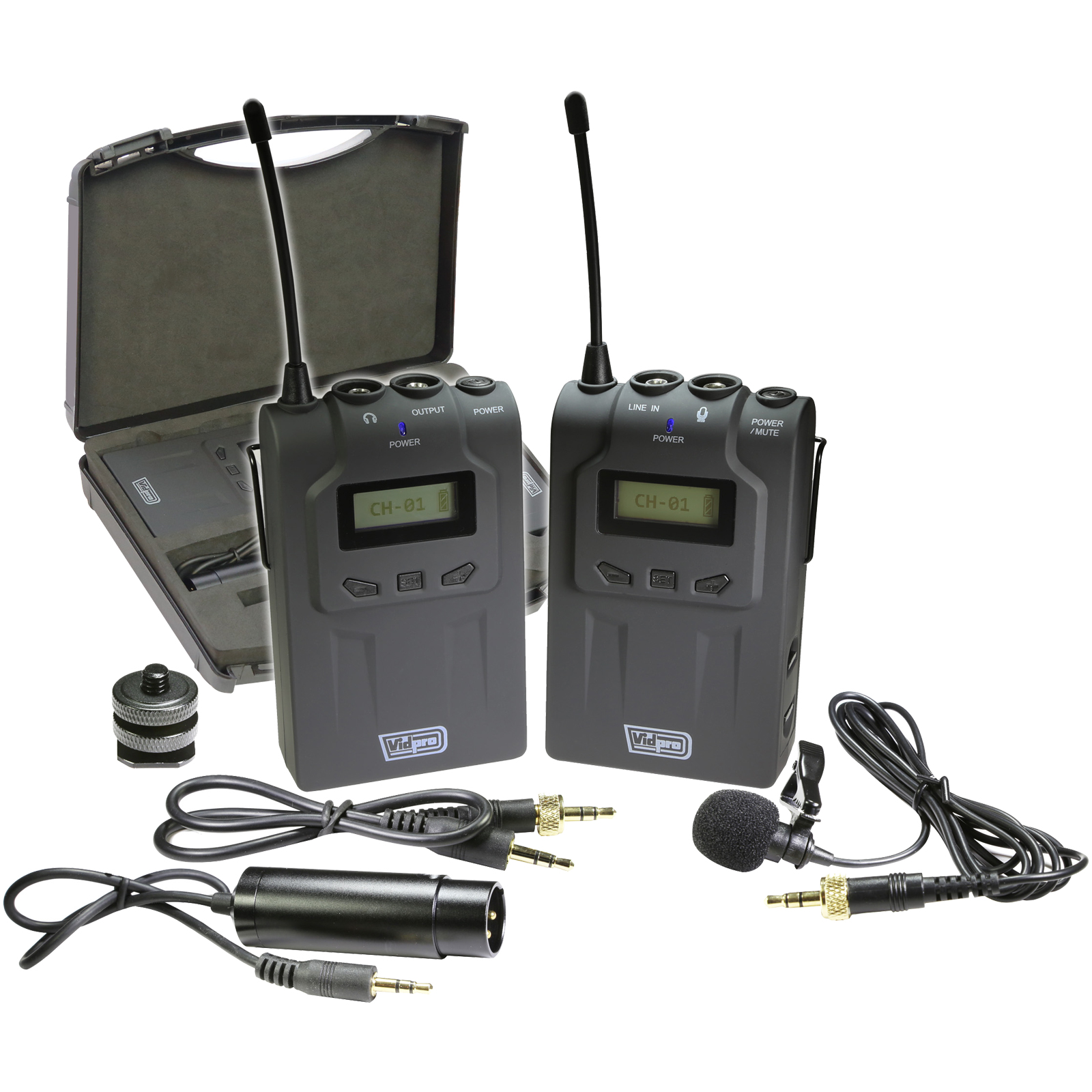 Vidpro XM-W4 Professional UHF Wireless Microphone System with Lavalier & Case