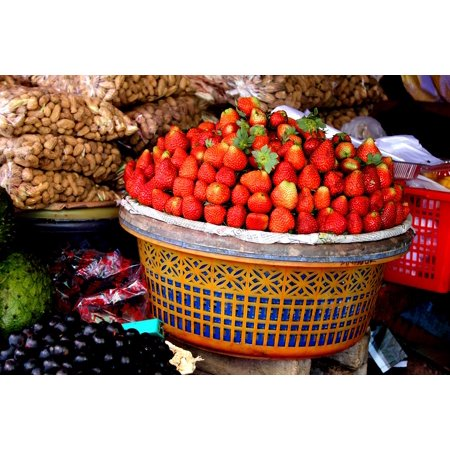 10 Assortment - Canvas Print Fruits Basket Strawberries Assortment Decoration Stretched Canvas 10 x 14
