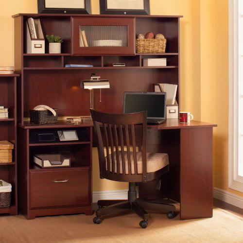 Bush Furniture Cabot Corner Desk with Hutch - Harvest Cherry