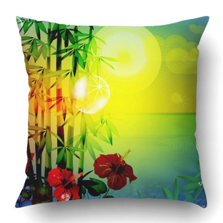 WOPOP Asian Tropical Landscape 10 Jungle Bamboo Beach Sun Asia Mediterranean Resort Pillowcase 18x18