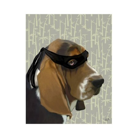Ninja Basset Hound Dog Print Wall Art By Fab Funky