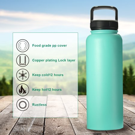 40OZ Vacuum Insulated Water Bottle Portable Stainless Steel Wide Mouth Sport Water Bottle for Outdoor Sports Camping Hiking Cycling,BPA-Free Wide Mouth Water Bottle