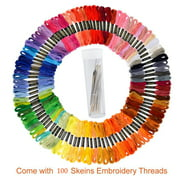 Premium Rainbow Color Embroidery Floss – Cross Stitch Threads – Friendship Bracelets Floss – Crafts Floss – 100 Skeins Per Pack, 30pcs Free Set of Embroidery Needles and 2 Threader