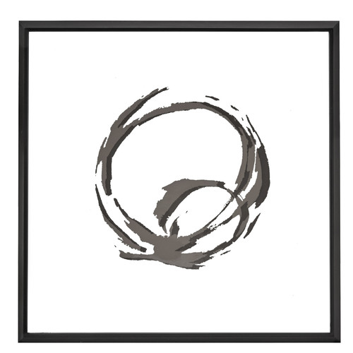 Majestic Mirror Square Black and White Abstract Circle Art with Mirror Shadow Box Semi Gloss Black Frame