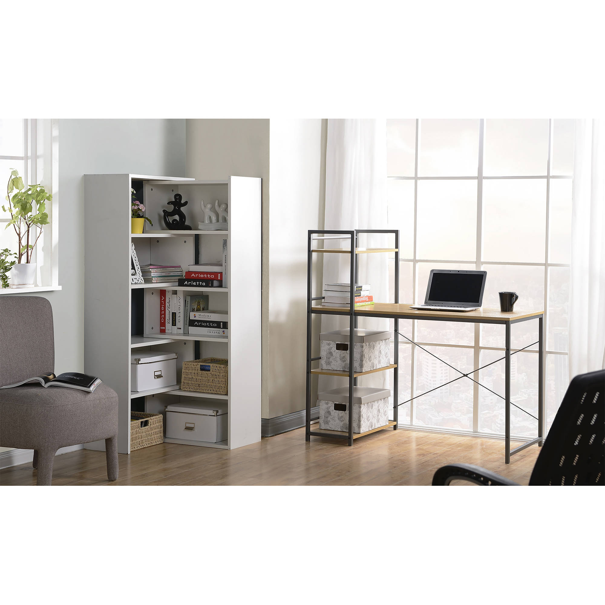 Homestar Desk with Built-In 4-Shelf Bookcase, Natural Wood
