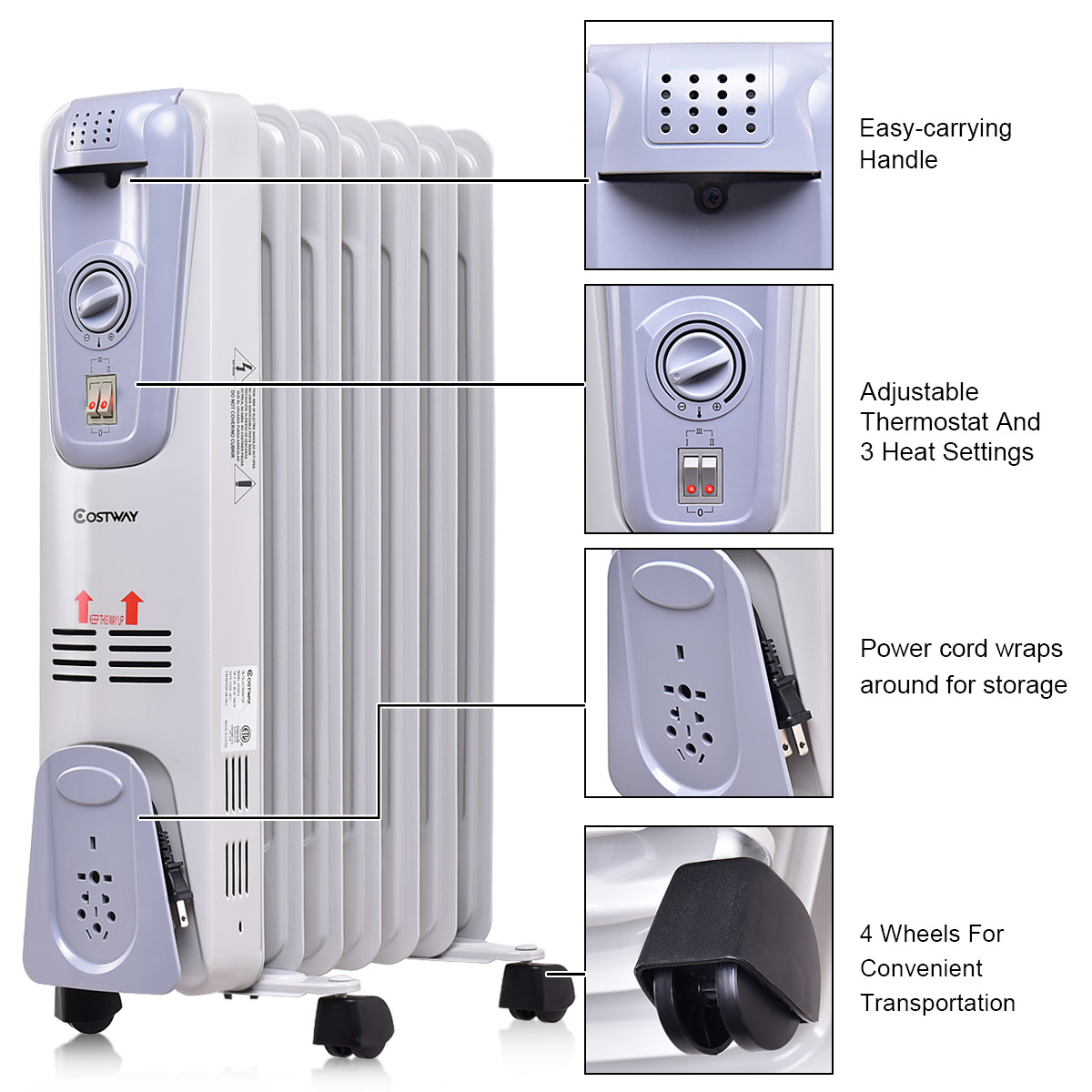 ee4994fd44c 1500W Electric Oil Filled Radiator Space Heater Thermostat - Walmart.com