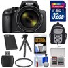 Nikon Coolpix P900 Wi-Fi 83x Zoom Digital Camera with 32GB Card + Battery + Backpack + Flex Tripod + Filter + Kit Nikon Coolpix P900 Wi-Fi Digital Camera (Black) <br>Amazing 83x power zoom, outstanding image quality and<br> built-in Wi-Fi connectivity all in an easy-to-handle package. The zoom power of the <b>COOLPIX P900</b> is nothing short of spectacular. This is 2000mm of optical zoom -- more than any Nikon COOLPIX yet. Advanced shooters will appreciate the outstanding image quality and DSLR styling -- a sure grip, a <b>swiveling Vari-angle display</b>, a <b>high-resolution Electronic Viewfinder</b> that turns on automatically when lifted to your eye, even a <b>PSAM mode control dial</b>. Those who simply want great photos and <b>Full HD videos</b> without any fuss will appreciate the point-and-shoot ease and long battery life -- up to 360 shots per charge! And everyone will appreciate the <b>built-in Wi-Fi</b> and <b>Near Field Communication technology (NFC) connectivity</b> which wirelessly connects the COOLPIX P900 to a compatible smartphone or tablet for instant photo sharing and remote camera control. <br><br><b>Key Features:</b><br> <b>83x Optical Zoom, 166x Dynamic Fine Zoom</b><br> With 2,000mm equivalent focal length, subjects barely visible with the naked eye can fill your frame. And if they dont, Dynamic Fine Zoom, an enhanced digital zoom effectively doubles that reach -- to a 4,000mm equivalent! If you lose sight of your subject while zoomed in, press the Snap-Back Zoom button for a quick zoomed-out view. Find your subject again and then release the button -- the COOLPIX P900 will zoom right back in. The whole time, 5.0 stops Dual Detect Optical VR improves VR performance using enhanced detection accuracy to help keep your photos sharp and your videos steady. <br><br><b>Show off your creativity</b><br> Unleash your creativity with the COOLPIX P900. Turn on Moon Mode, zoom in with the power of 83x optical zoom and capture stunning detailed images of 