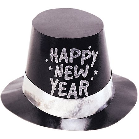 Foil Glitter Black New Year's Top Hat - Happy New Year Top Hat