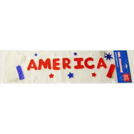 America with Firecrackers Gel Window Clings](Gel Window Clings)