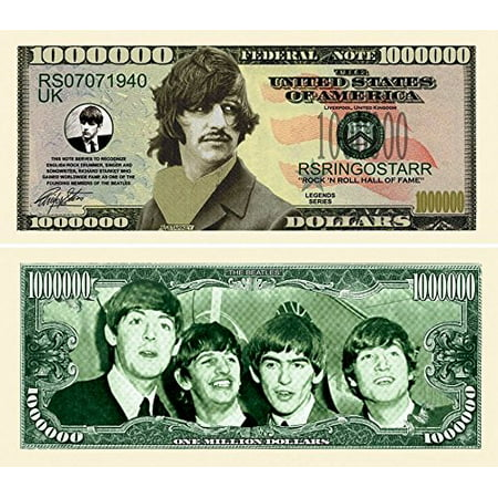 "Five Dollar Gift Card - 5 Ringo Starr Million Dollar Bills with Bonus ""Thanks a Million"" Gift Card Set"