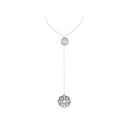 Fronay BA1104W 22 & 6 in. Laser Cut Flower Engravings Lariat Necklace in Sterling Silver - image 1 de 1