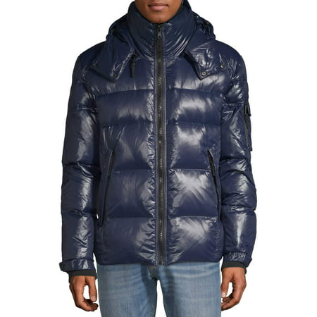 S13 Men's Downhill Gloss Nylon Puffer Jacket with Detachable Hood, up to size 2XL