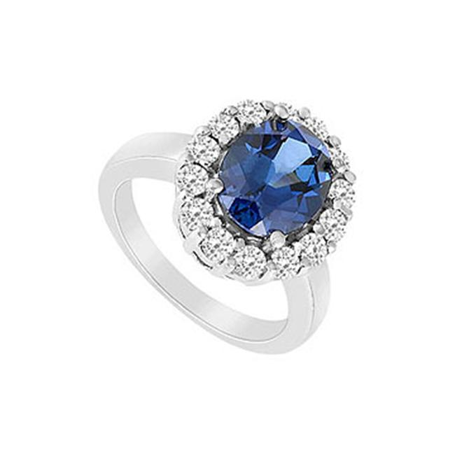 FineJewelryVault UBUK694W10CZS-118 Diffuse Sapphire and Cubic Zirconia Ring : 10K White Gold - 3. 25 CT TGW - Size: 7