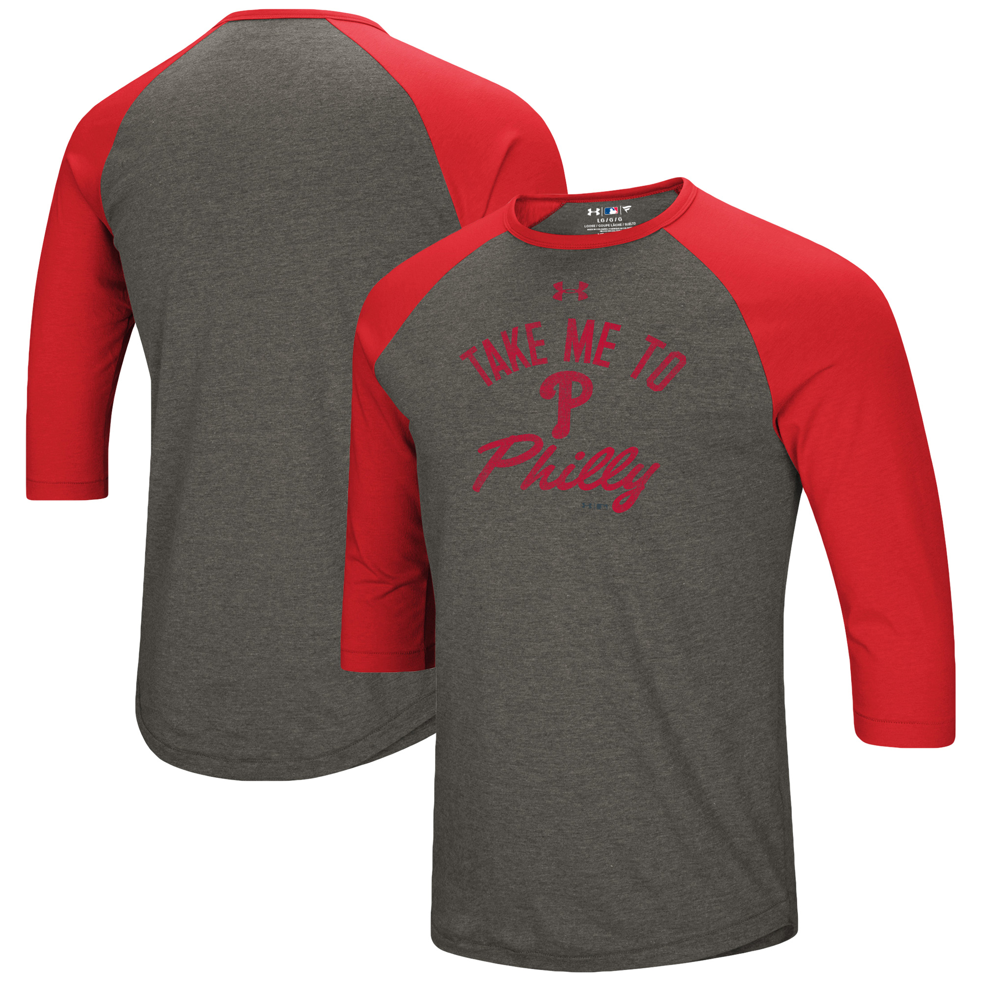 Philadelphia Phillies Under Armour Heritage Performance Tri-Blend Raglan 3/4-Sleeve T-Shirt - Heathered Gray/Red