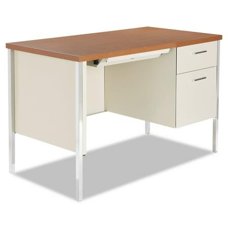 Single Pedestal Steel Desk, Metal Desk Cherry/Putty Sandusky Steel Desk