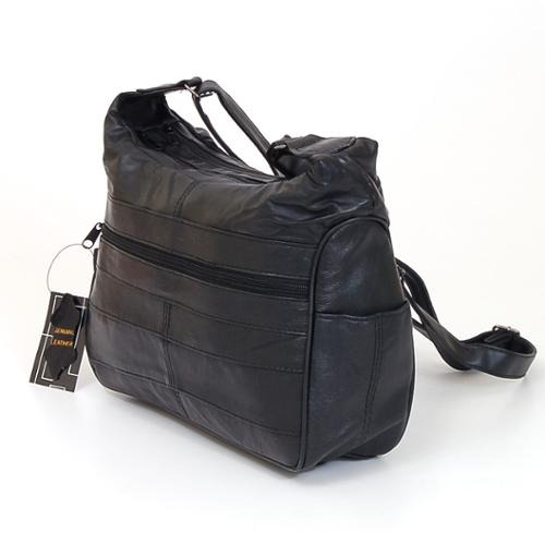 Womens Leather Handbag Mid Size Hobo Shoulder Bag Purse Tote W Multi Pockets New Black One Size