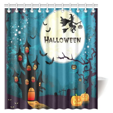 MYPOP Halloween Decor Shower Curtain, Witch on Broom Flying at Halloween Ancient Western Horror Fabric Bathroom Decor Shower Curtain Set with Hooks, 66 X 72 Inches](Halloween Bathroom Decor Ideas)