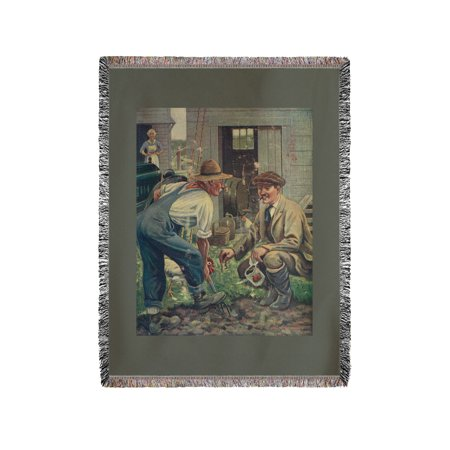 National Sportsman   Man Gathering Worms For Fishing  Talking With Farmer  Farmers Wife  60X80 Woven Chenille Yarn Blanket