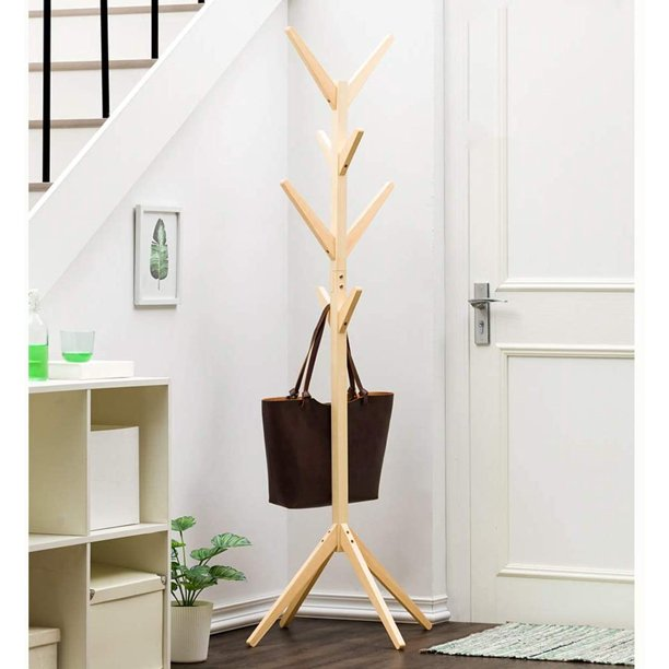 "69"" Wooden Standing Coat Rack, Hall Hat Tree Hanger Holder with 8 Hooks Tripod Base for Bedroom Office Hallway Entryway"