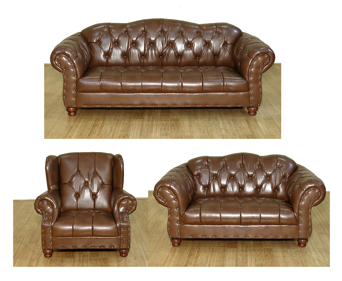 Click here to buy 3 Pc Brown Buckskin Leather Tufted Couch Sofa Set by Rustic Pine Furniture.