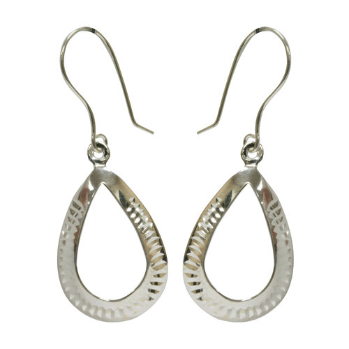 Forever New Silver Tone Ribbed Teardrop Dangle Earrings