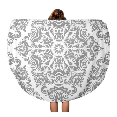 Silver Patterned Round Dial - SIDONKU 60 inch Round Beach Towel Blanket Gray Damask Classic Light Silver Pattern Traditional Orient Vintage Travel Circle Circular Towels Mat Tapestry Beach Throw