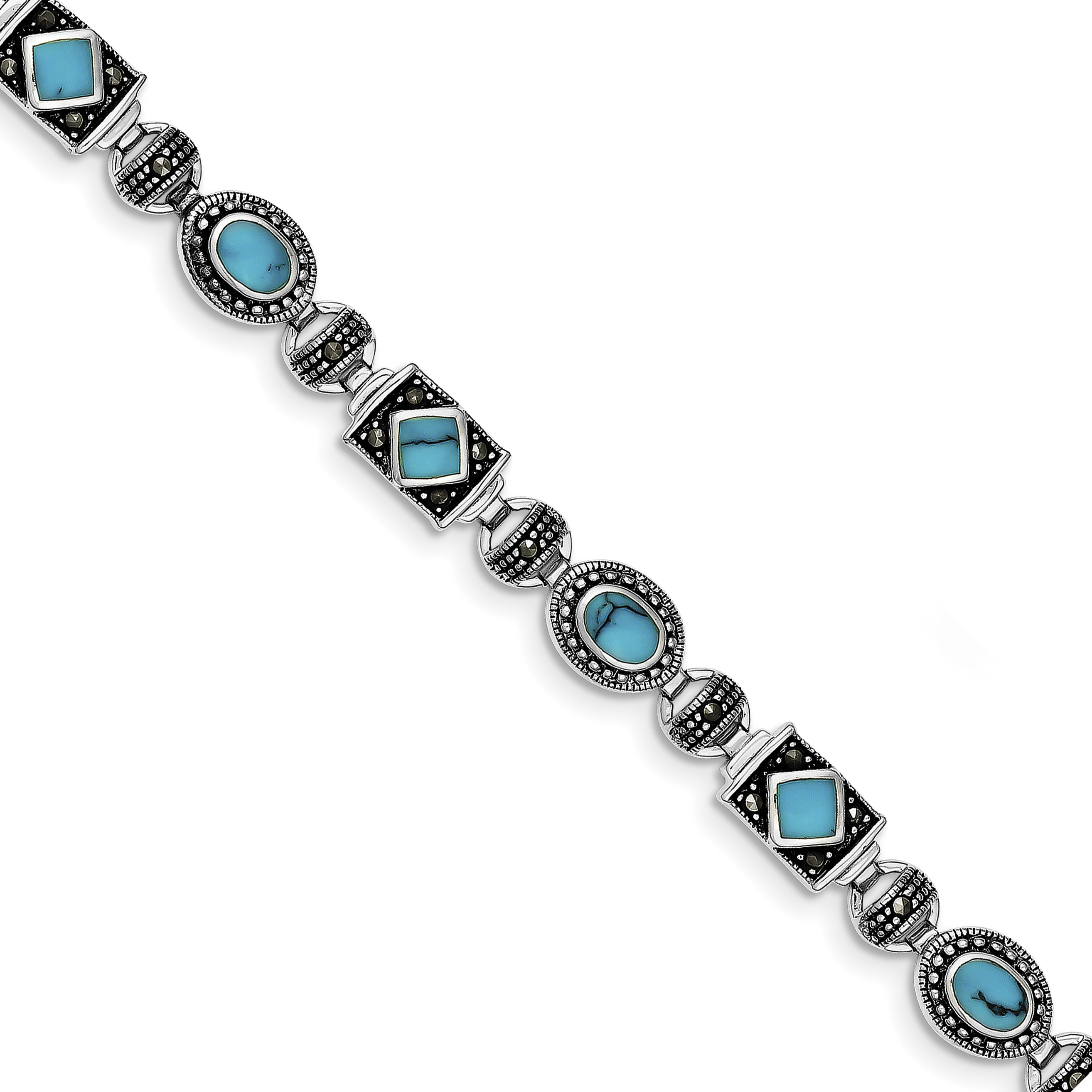 925 Sterling Silver Rhodium-plated Synth Turquoise and Marcasite Bracelet by