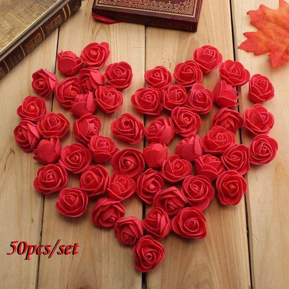 HiCoup 50Pcs Mini 3.5cm Foam Roses Artificial Flower Wedding Bride Bouquet Party Decor