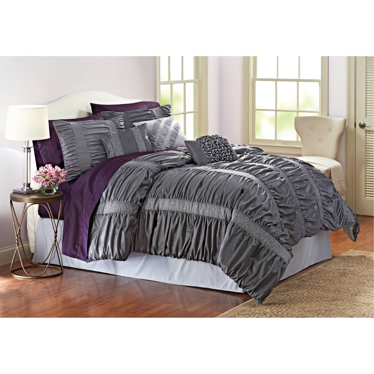 Better Homes & Gardens Full Embroidered Ruching Comforter Set, 7 Piece